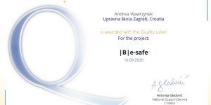 Nacionalna oznaka kvalitete za eTwinning projekt  B e-safe