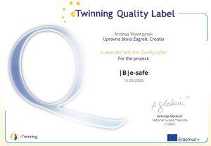 Nacionalna oznaka kvalitete za eTwinning projekt |B|e-safe